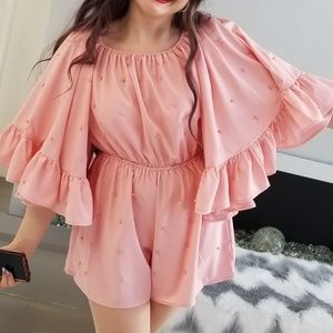 MODA ME COUTURE Pants - Pink Pearl Detailed Romper
